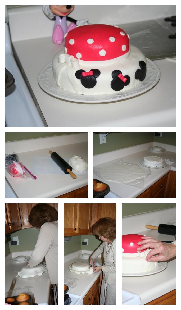 minnie mouse birthday cake fondant
