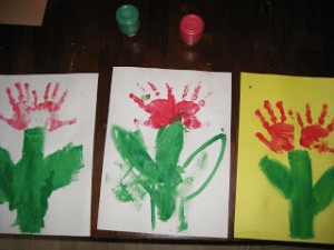 tulip hand prints