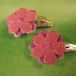 pink flower clips