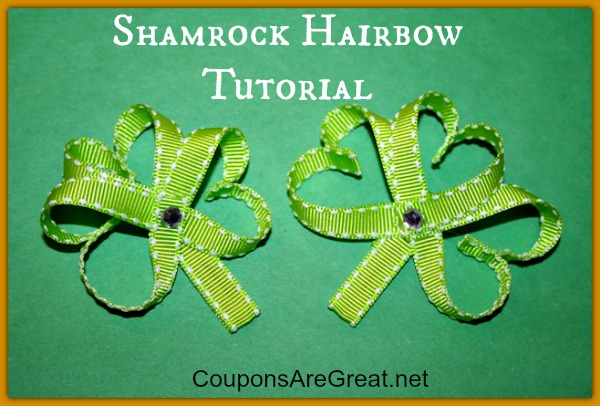 This shamrock hair bow tutorial has step by step pictures to create the perfect shamrock for St. Patrick's Day!