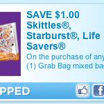 Save $1.00 on a Grab Bag of Skittles, Starburst, and Life Savers