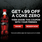 Save 99¢ on Any Coke Zero Printable Coupon (via Facebook)