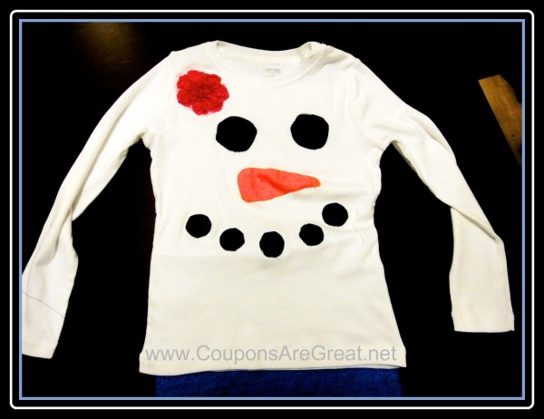 Create your own snowman or snowgirl shirt - you don't even need to sew (although that will make the shirt last much longer)
