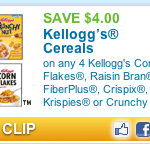 Save $4.00 off 4 Boxes of Kellogg's Cereals!!  Reset, Print Quickly!
