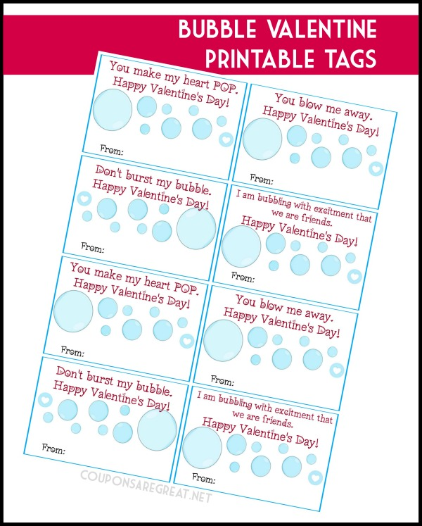 "Use the printable valentine bubble tags to and ""blow"" your Valentines away!"