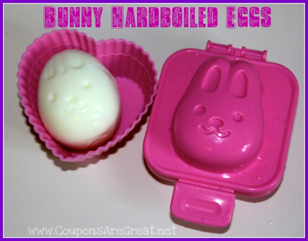 Make eggs a lot of fun by turing them into shapes. These hardboiled bunny eggs are perfect for lunch boxes and more.
