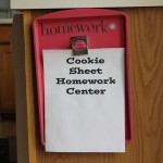 Crafty Tuesday: Magnetic Cookie Sheet Homework Center Tutorial