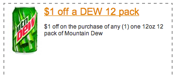 Do the Dew with these free printable Mountain Dew coupons for Enjoy refreshing Mountain Dew and other Pepsi beverages using these latest Printable Mountain Dew Coupons for Save $ with these coupons. Mountain Dew Coupons Save $ on One (1) 8-Pack of Mountain Dew Spiked Lemonade Or Spiked Raspberry Lemonade.