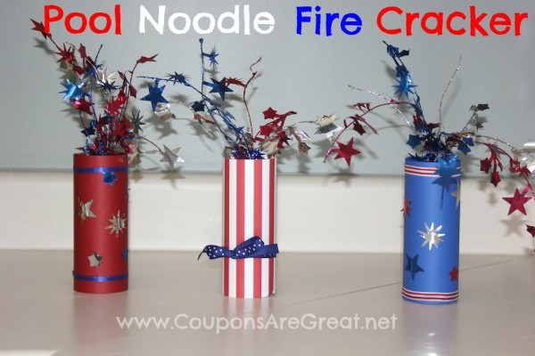 Turn an old pool noodle into a cute pool noodle fire cracker centerpiece or decoration in this easy craft.