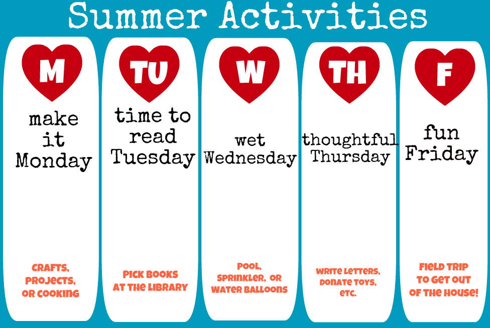 Summer Activities Schedule: Print Your Own!
