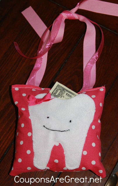 Make a homemade tooth fairy pillow for your child's teeth.  This is a fun craft for children to help with!