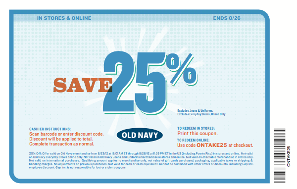 Old navy in store printable coupons april 2018