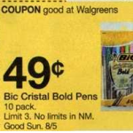 walgreens bic free after coupon