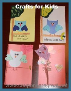 crafts for kids owl cards