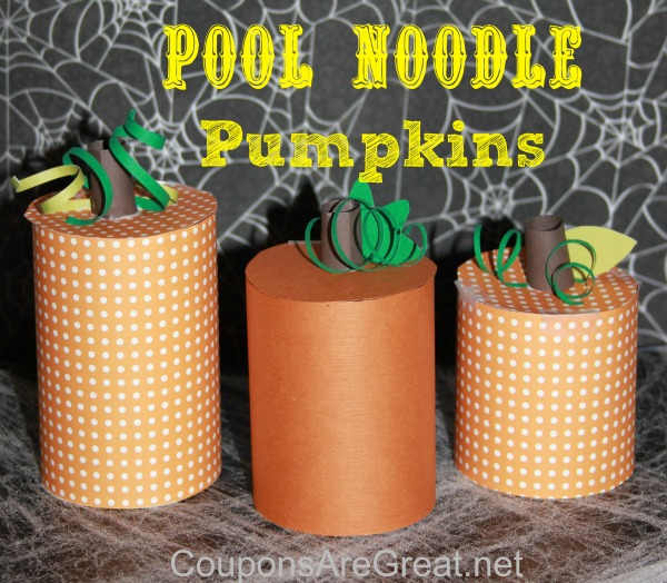 Turn an old pool noodle into a work of art.  These pool noodle pumpkins are easy as (pumpkin) pie to make!