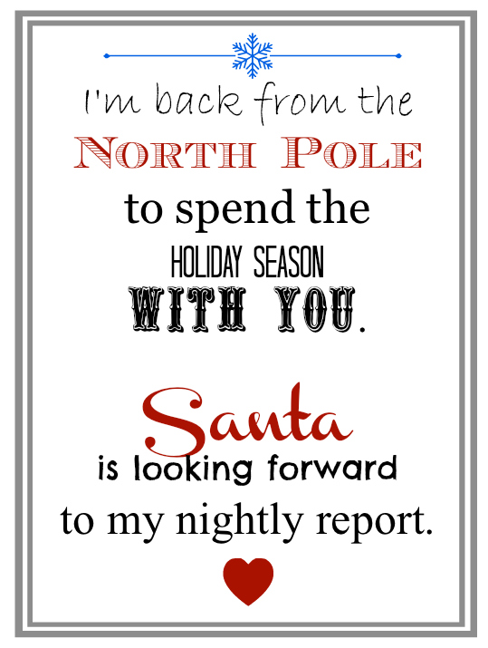When your elves come back print this simple letter from Santa for their return!