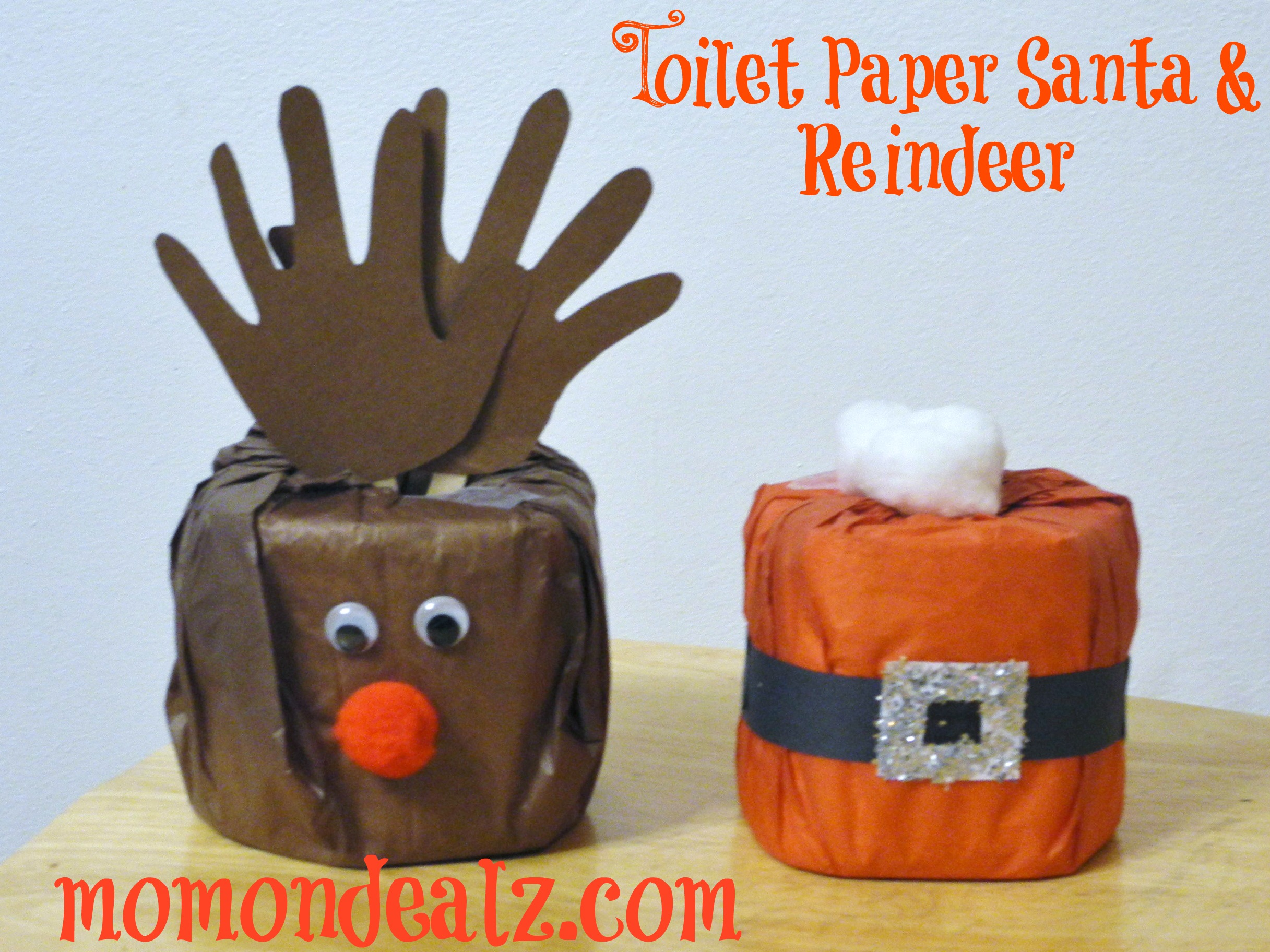 Christmas crafts toilet paper santa and reindeer jeuxipadfo Image collections