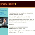 ups mychoice delivery notification