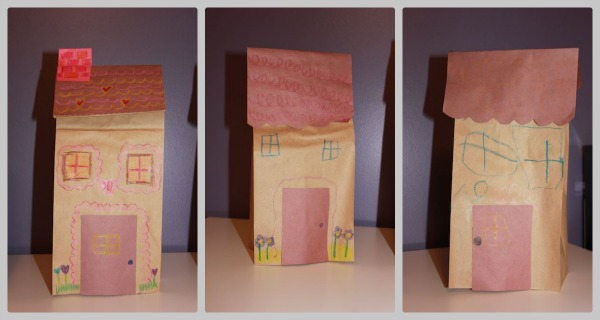 Valentine 39 s village with paper bag houses for Brown paper bag crafts for preschoolers