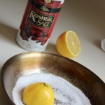 kosher salt lemon clean pan