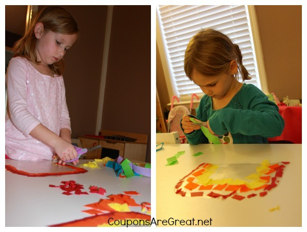 Craft Idea How To Make Contact Paper Tissue Paper Rainbows