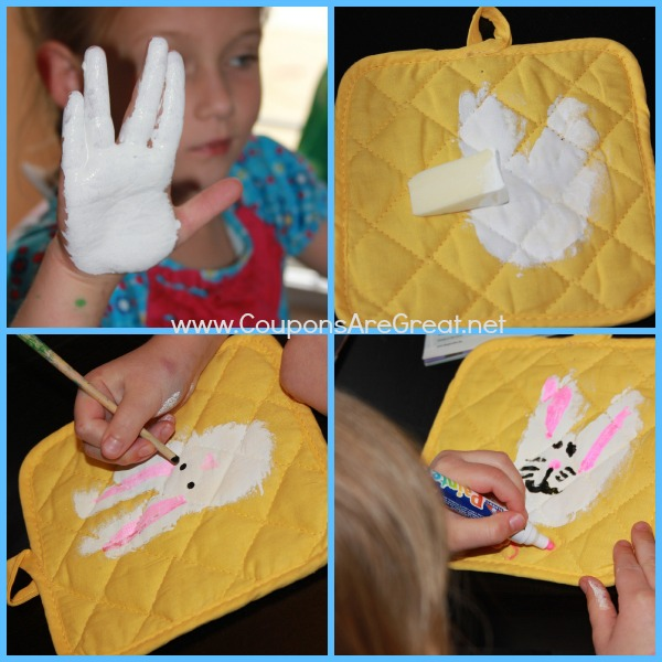 Make a bunny handprint craft with these DIY pot holders.
