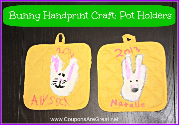 These pot holders are made from children's hand prints. Handprints never go out of style and you will love pulling these out year after year.