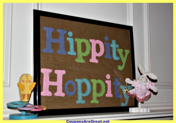 burlap easter sign hippity hoppity
