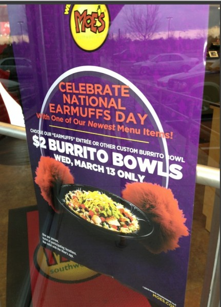 photo regarding Moes Printable Coupons identified as Rejoice with Moes $2 Burrito Bowl upon Wednesday March 13