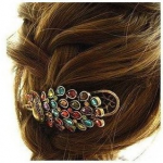 Vintage Jewelry Crystal Peacock Hair Clip Only 90¢ Shipped