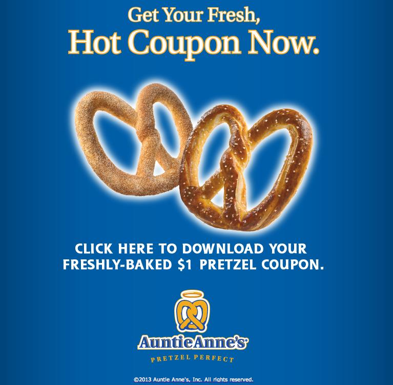 Auntie anne's pretzels coupons