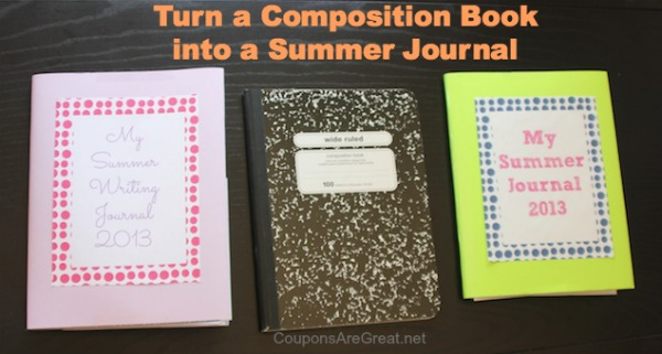 composition book to summer journal