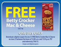 free betty crocker mac & cheese