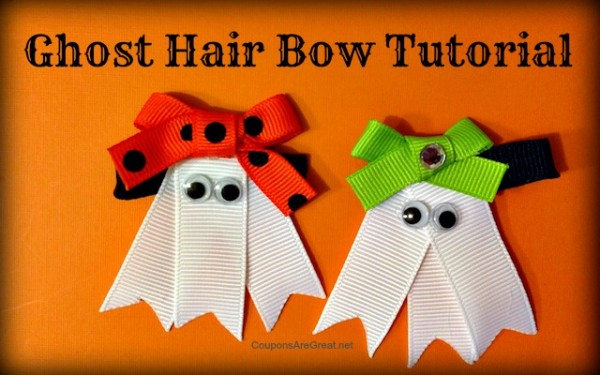 This ghost hair bow tutorial walks you through all the easy steps to creating this adorable hair bow perfect for Halloween.