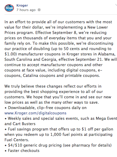 kroger stops doubling coupons announcement