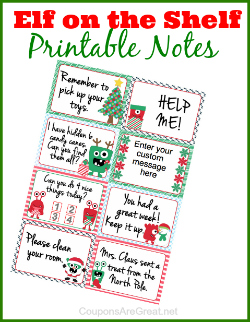 Elf on the shelf printable notes 250