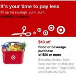 Target Mobile Coupons: Save $10 off $50 Food and Beverage Purchase
