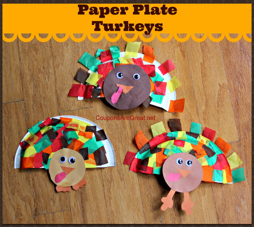 If you have a paper plate, some tissue paper, and some construction paper you can make paper plate turkeys to decorate with.