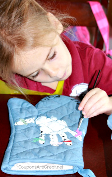 snowman handprint pot holder paint