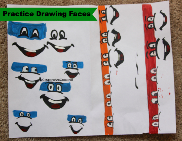 teenage mutant ninja turtle face drawings