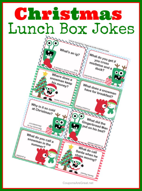 These Christmas lunch box jokes are super fun for kids (and adults too). What DO you call Santa when he stops moving? ;-)