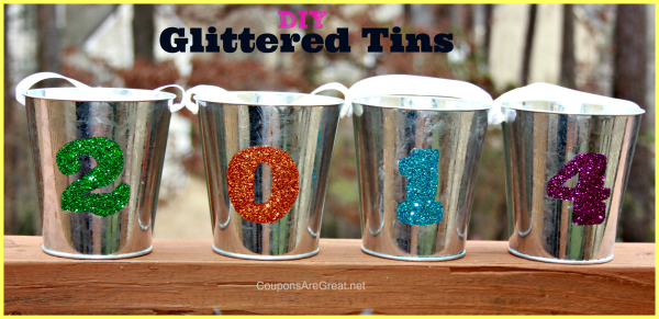 new years eve craft glittered tins