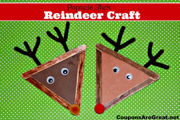 Christmas Crafts For Kids Popsicle Stick Reindeer Craft