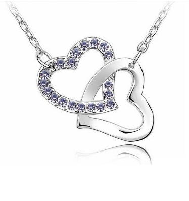 Heart Crystal Rhinestone Pendant Necklace