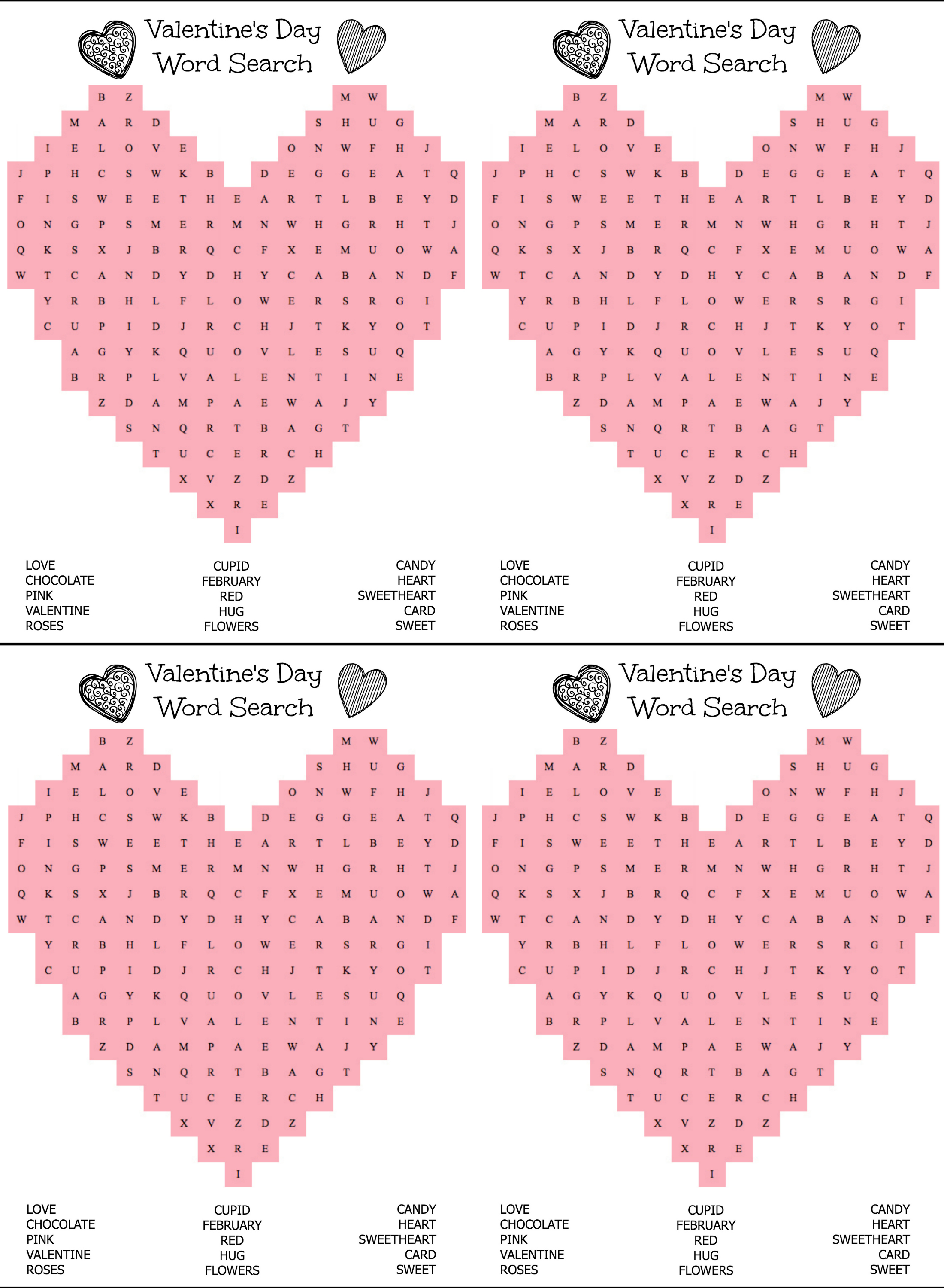 Valentine Crossword Games  Printable Valentine Word Search