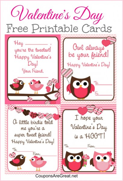 Free Printable Valentine\'s Day Cards for Kids with Owls and Birds