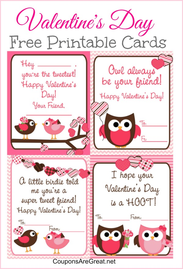 Free Printable Valentine's Day Cards for Kids with Owls and Birds