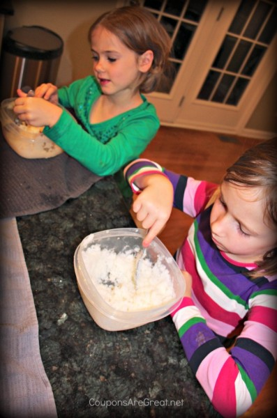 Making snow cream is an easy activity that kids love to do!