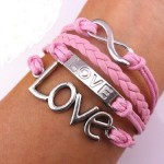 vintage love pink rope bracelet
