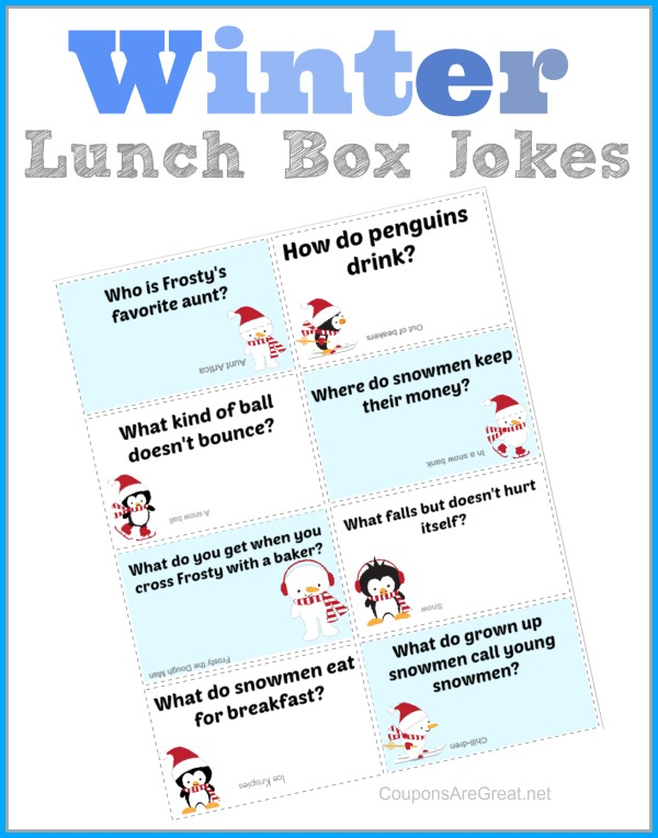Printable Winter Lunch Box Notes Using Winter Jokes for Kids
